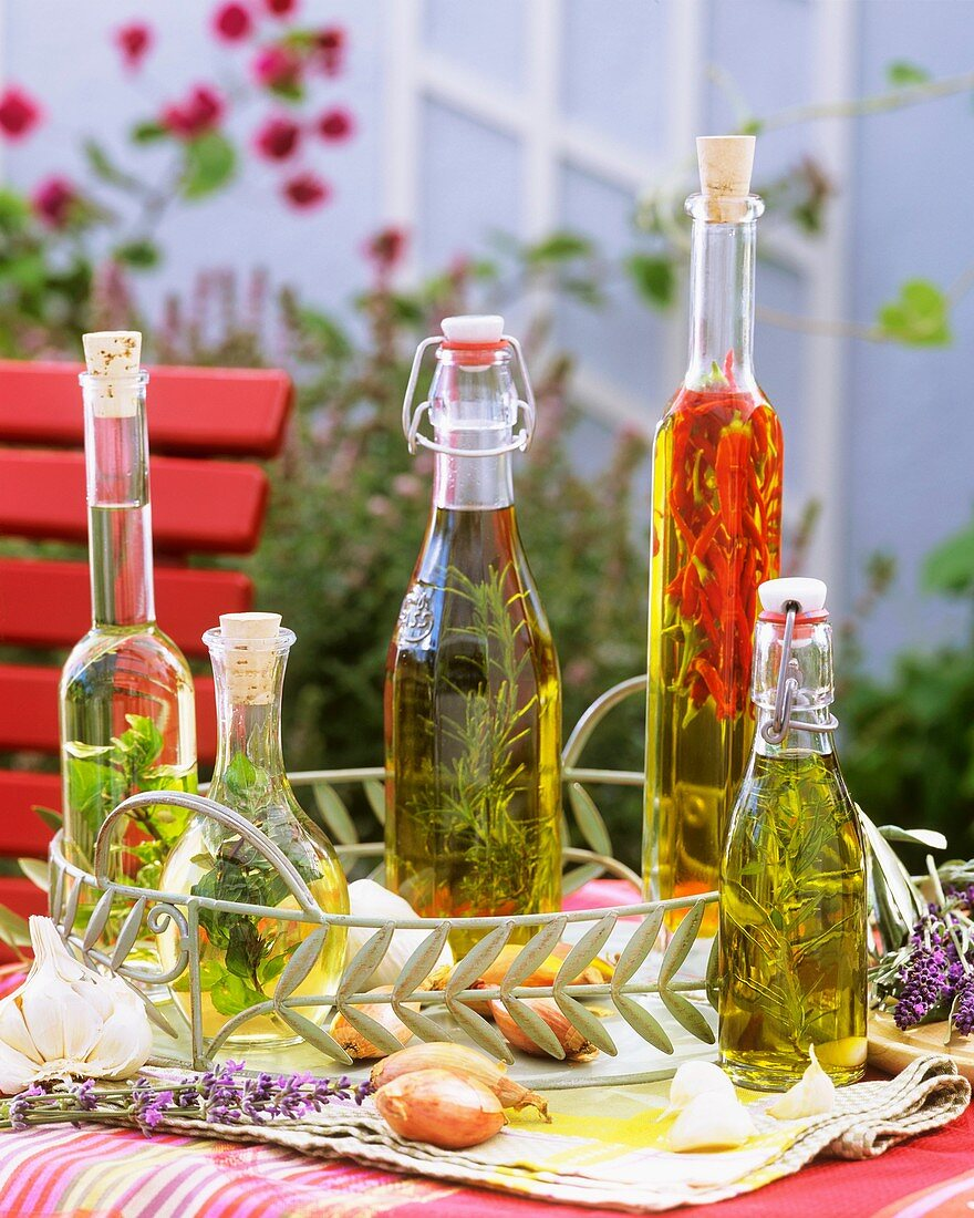 A selection of herb oils