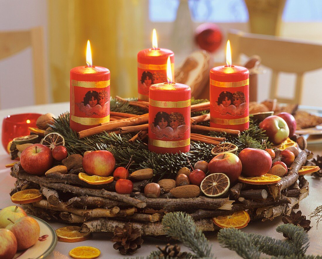 Advent wreath of Noble fir on wreath of small sticks