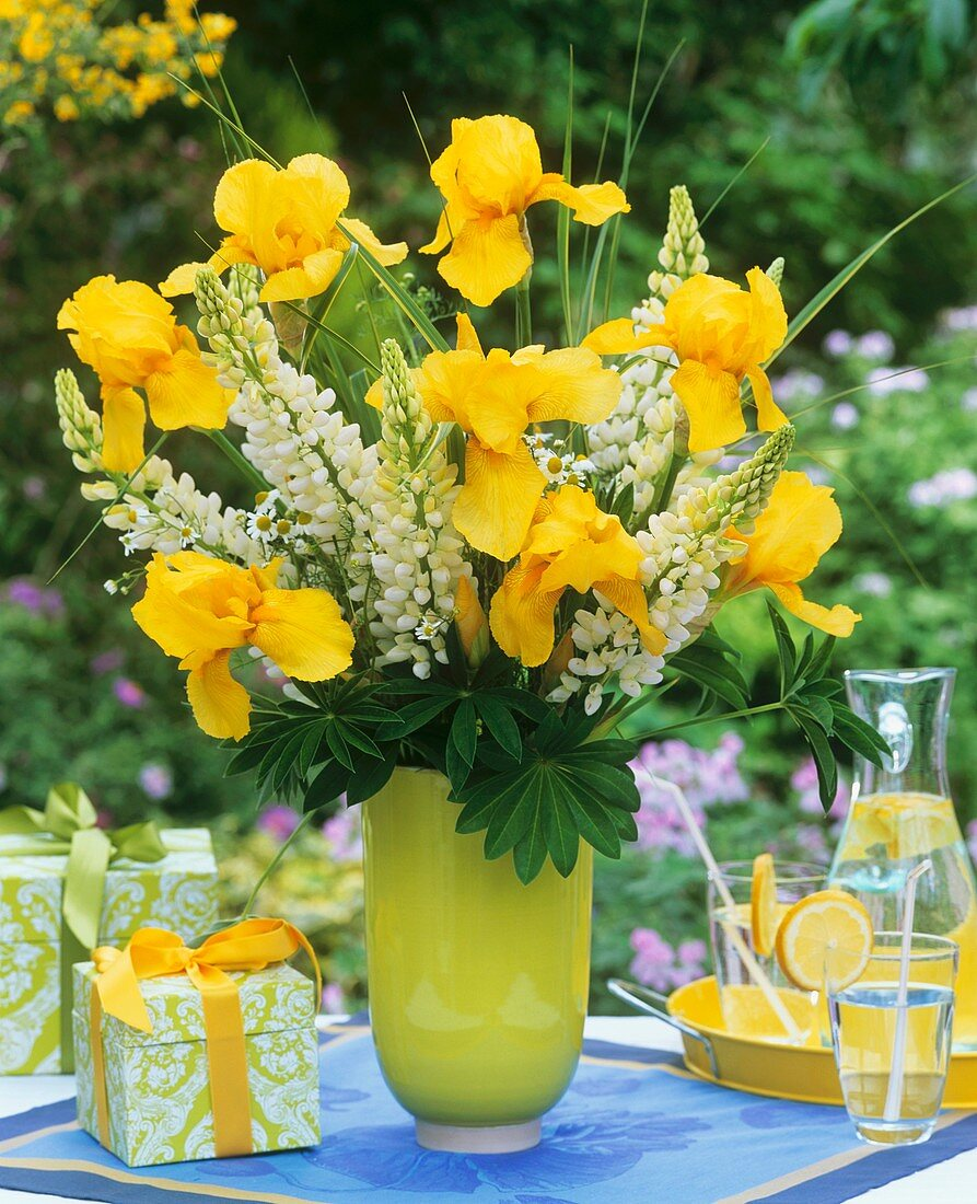 Vase of irises, lupins and grasses