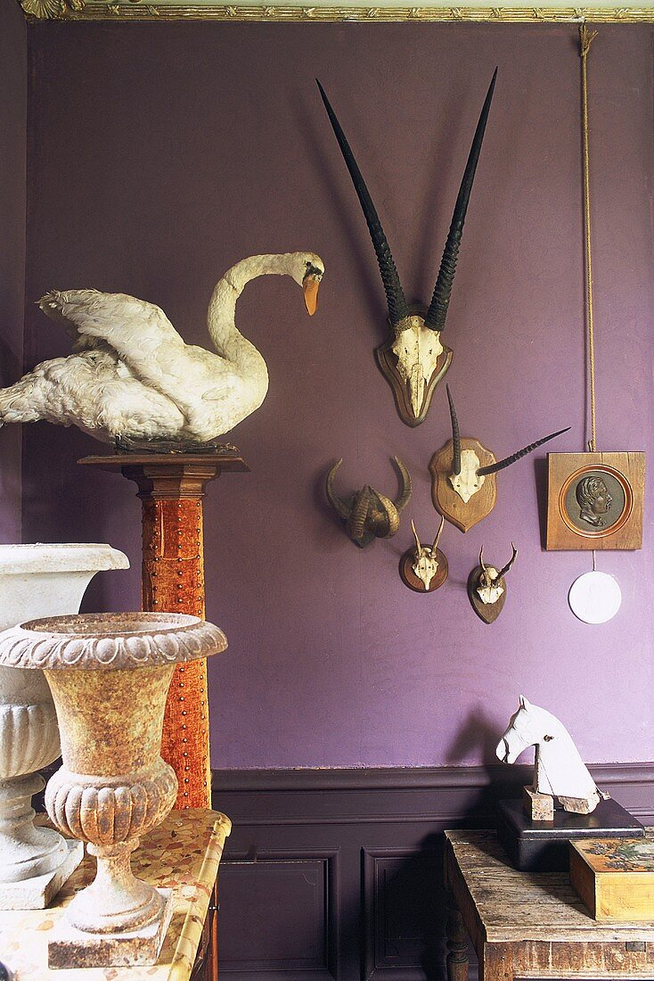 Hunting trophies, stone urn and horse's head ornament