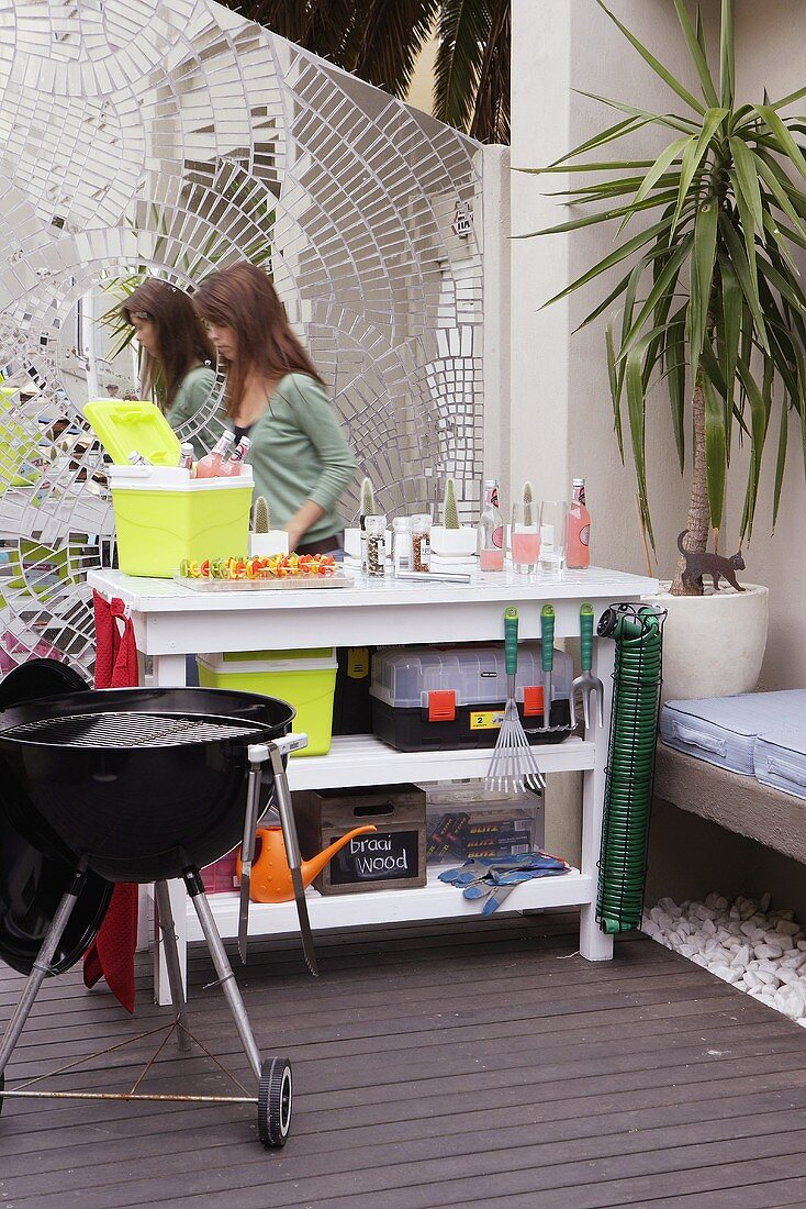 Barbecue and work station on a terrace