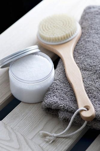 Salt scrub and a back brush