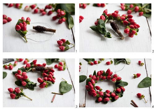 A wreath being made with St John's wort berries