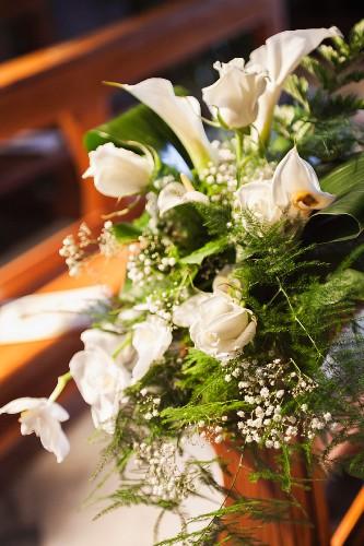 Pew end floral decor for wedding