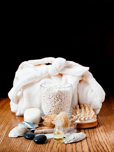Assorted skin care products for the spa