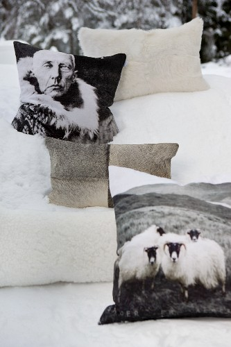 Fur cushions in snow, some printed with pictures