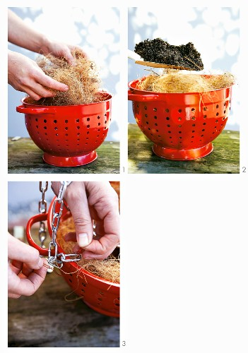 Making a hanging basket out of a colander