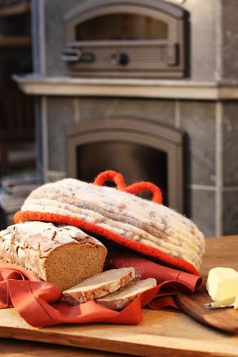 Hand crocheted felt bread cover