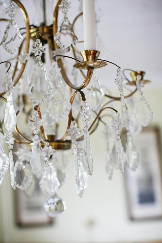 Brass chandelier with glass pendants (detail)