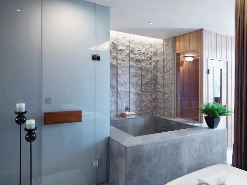 Bathtub in modern hotel bathroom