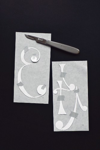 Paper templates for cutting wax numbers