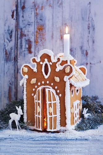 A homemade gingerbread house