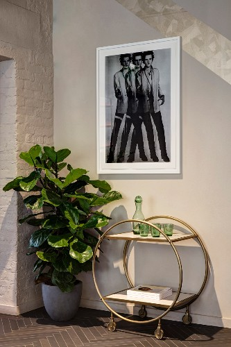 Green glasses and carafe on retro serving trolley, potted foliage plant and photo on wall