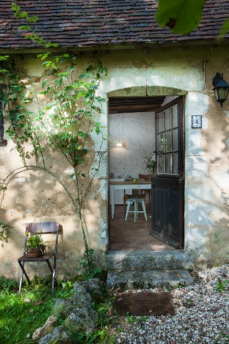 Traditional country house with vintage front door