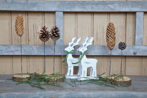 Wooden ornaments made from slices of branch and various conifer cones