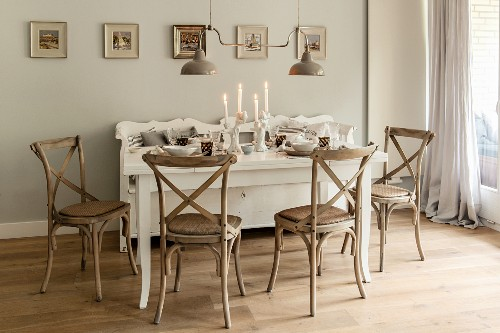 White Set Dining Table Wooden Chairs Buy Image 11436706 Living4media