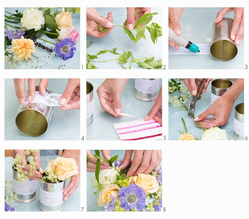 Arranging a bouquet in a tin can decorated with lace