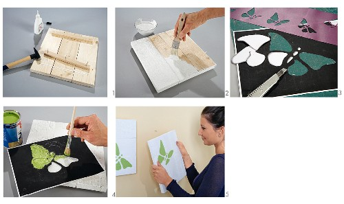 Instructions for making pictures from rough tongue and groove boards decorated with butterfly motifs