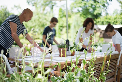 Family preparing for brunch in summery garden seen through green plants