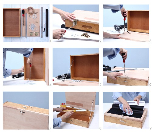Instructions for making a miniature folding writing desk from an old wooden drawer