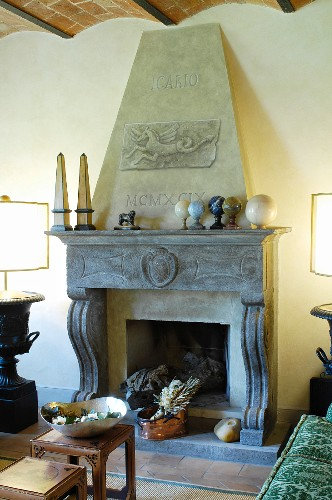 Open fireplace in Mediterranean living room