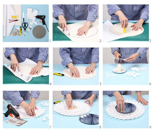 Instructions for making a mirror frame from plastic spoons