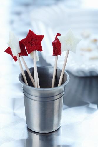 Felt stars on toothpicks