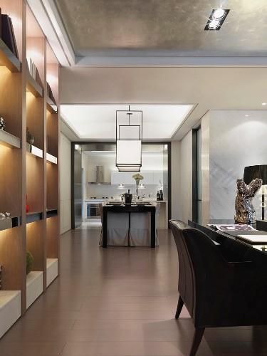 View through modern interior to kitchen