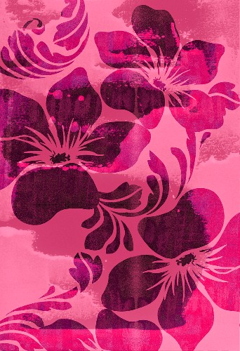 Pink tropical flower design (print)