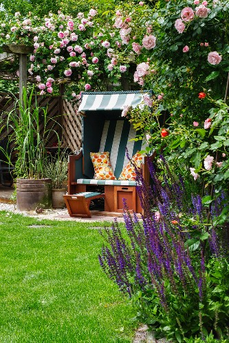 Wicker beach chair in rose garden