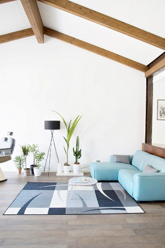 Simply furnished attic living room