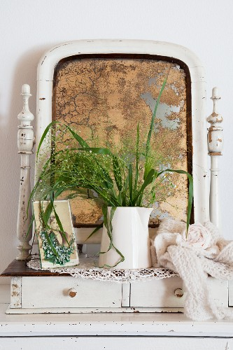 Old drawer unit with foxed dressing mirror behind jug of flowers