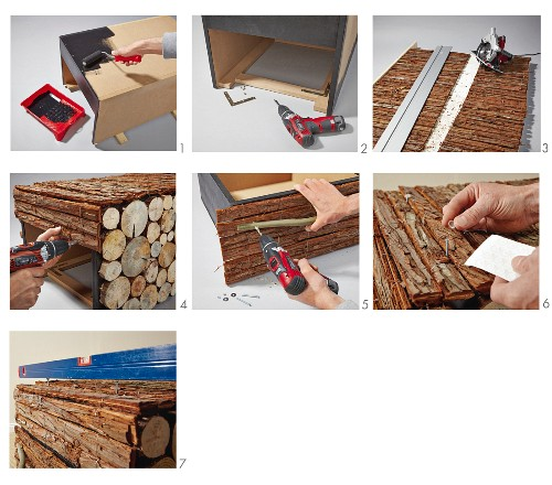 Instructions for cladding a DIY coffee table with bark and slices of log