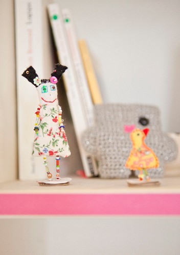 Dolls made from floral fabrics and beads