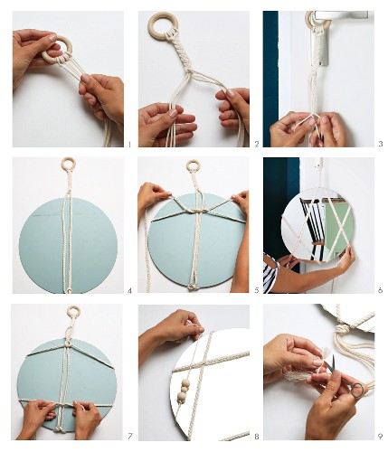 Instructions for decorating a round mirror with macramé