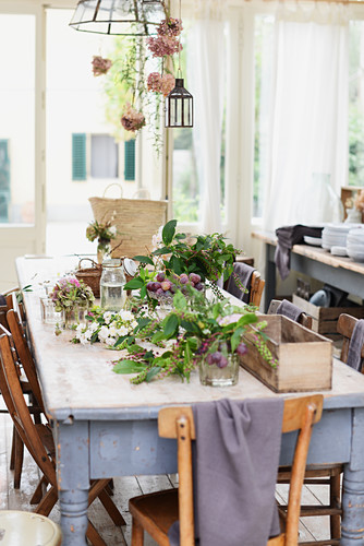 Autumnally decorated dining table