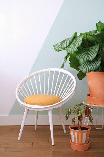 Rustic retro easy chair and plants in terracotta pots in front of two-tone wall