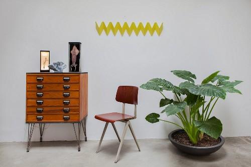 Gelbe Zickzack-Wandgarderobe, Schubladenkommode, Retro Stuhl und großblättriger Zimmerpflanze