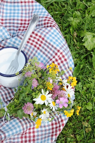 Checked picnic blanket, posy of wildflowers and enamel mug on lawn
