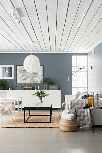 Grey and white living room with white wood-clad ceiling
