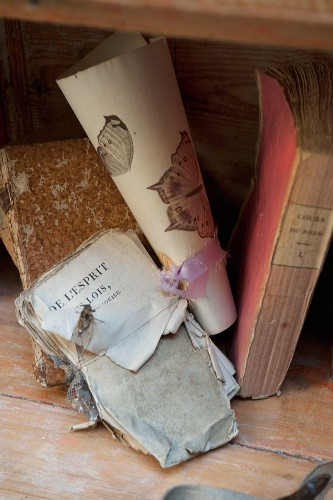 Vintage books and bookpages tied with ribbon