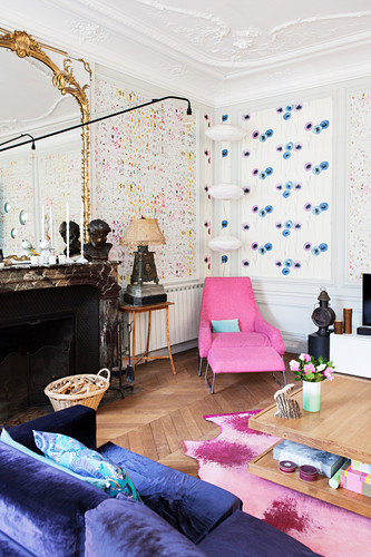 Colourful living room in French period apartment