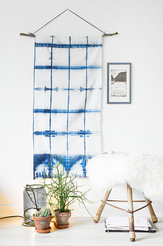 Hand-made wall hanging made using Shibori technique