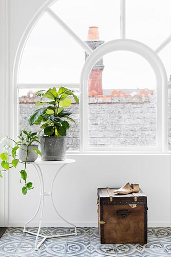 Metalltisch mit Pflanzen und alte Truhe vor einem Bogenfenster