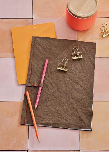A DIY folder made of vegan leather paper
