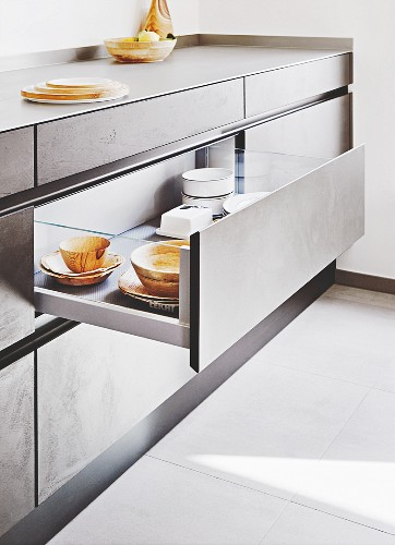 Kitchen drawers with glass sides