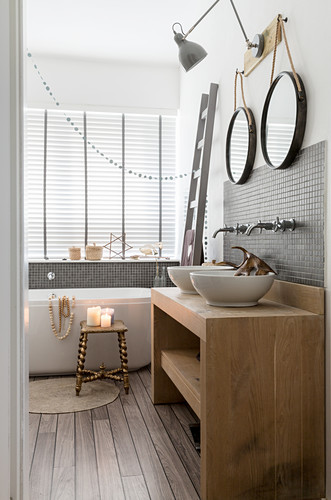 Festive decorations in rustic bathroom in natural shades