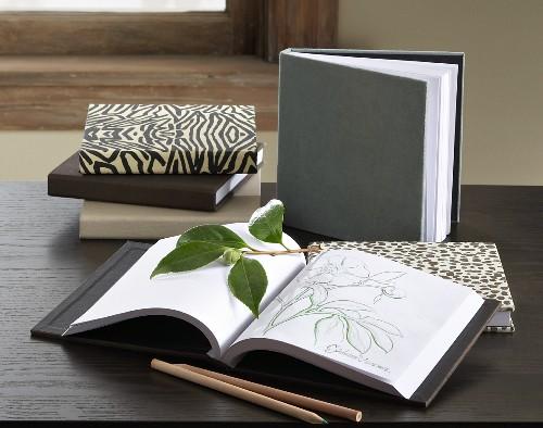 Covered sketchbook and sketches in open sketchbook