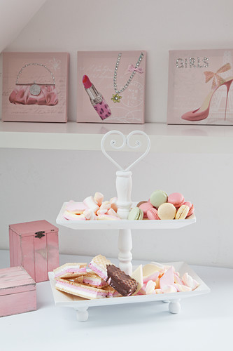 Pastel-coloured pastries on cake stand in front of feminine pictures