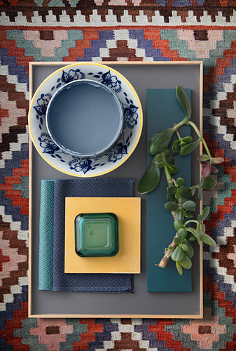 Tray of accessories on rug - ethnic-style mood board